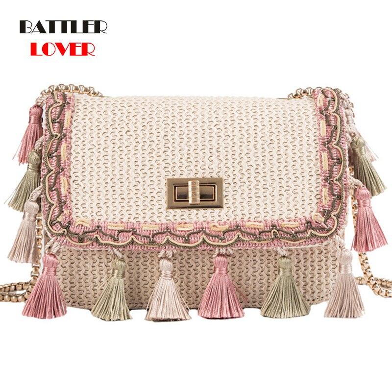 2019 Ins Hot Fashion Wool Womens Handbag Tassel Plaid Straw Messenger Bag Vintage Ladies Flap High Quality Chain Shoulder Bag
