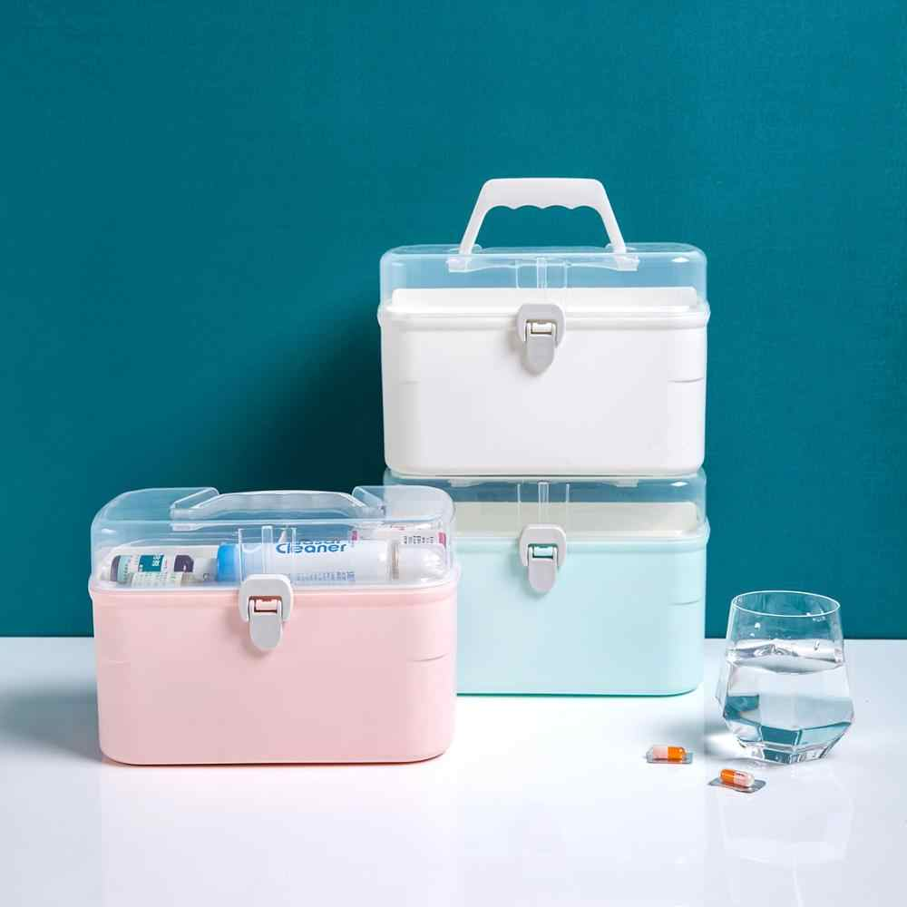 Portable Double-Layer Kotak Obat Keluarga Kapasitas Besar Pertolongan Pertama Kotak Obat Pil Kotak Penyimpanan