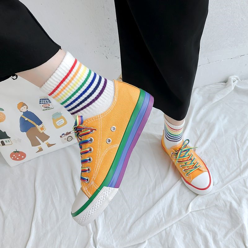 Harajuku Rainbow Canvas Shoes Women Casual Wild Lace-up Round Toe Low Top Flat Sneakers Yellow Fashion Streetwear Flats White