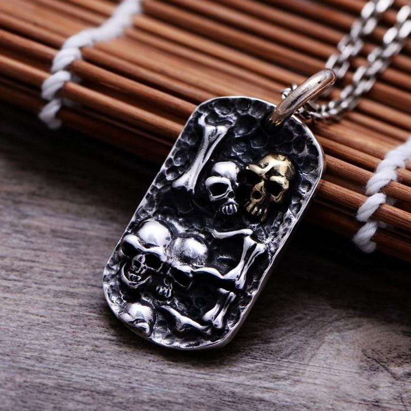 2019 nouveau 100% ture s925 argent bijoux Thai argent pendentif pour homme personnalité en relief 925 argent crâne hommes pendentif