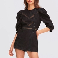 2019 New High Quality Black Bodysuit Women Hollow Out Button Solid Patchwork Shorts Casual Solid O Neck Jumpsuits For Women