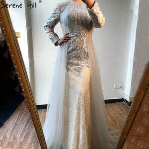 Image 3 - Serene Hill muzułmańskie kształtki na szyję luksusowe wysokiej klasy suknia wieczorowa 2020 szare długie rękawy formalna suknia wieczorowa z pociągiem CLA70305