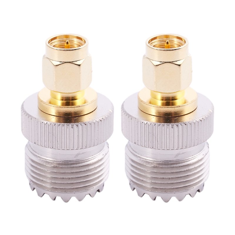 2x SMA Male To UHF Female SO239 SO-239 Jumper Plug RF Adapter Connect PL-259 Gold