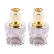 2x sma macho para uhf fêmea so239 so-239 jumper plug rf adaptador conectar PL-259 ouro
