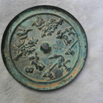 China old Bronze Old Feng Shui Bronze mirror Figure scene
