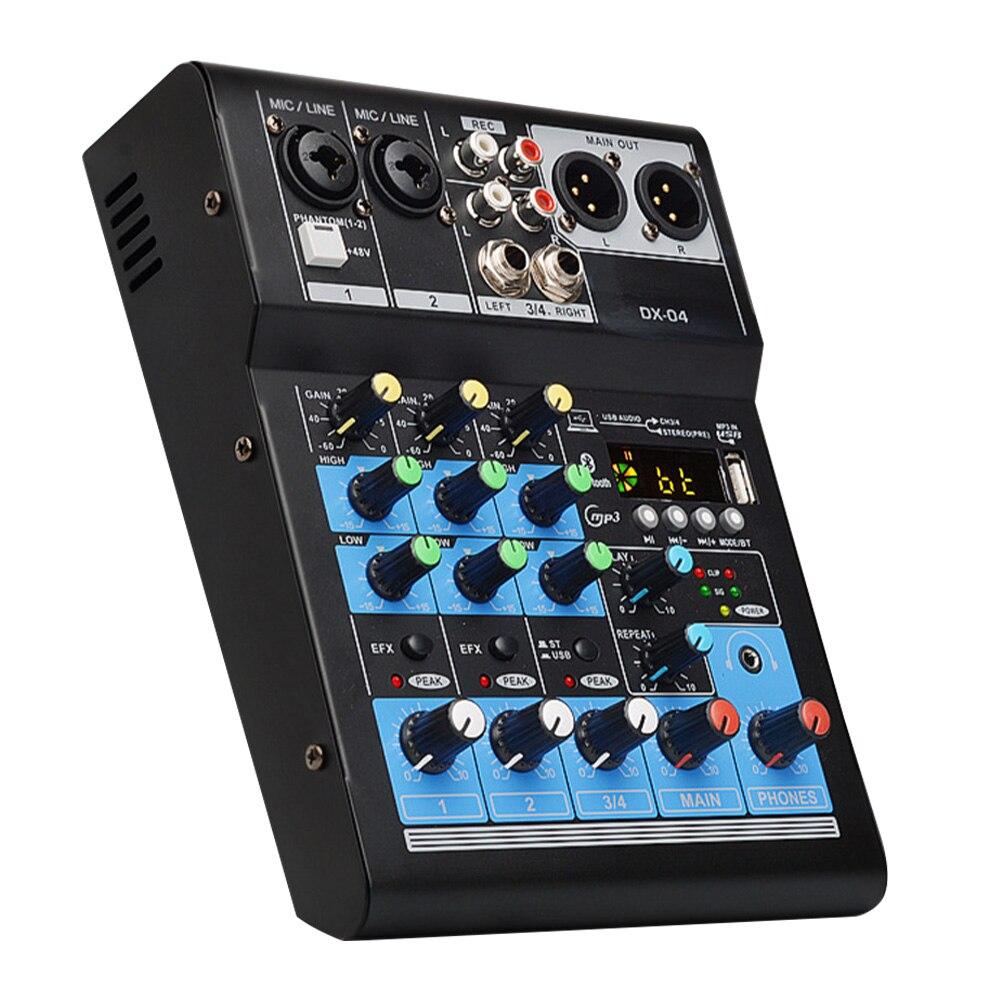 DJ petit KTV Audio mélangeur Console de mixage Portable karaoké stéréo Bluetooth enregistrement maison carte son 4 canaux professionnel USB