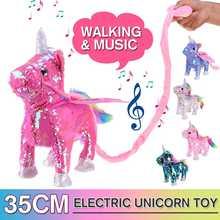 Милый блесток Un icorn электрическая ходьба плюшевые игрушки чучело игрушка электронная музыкальная игрушка забавные игрушки для детей Рождественский подарок