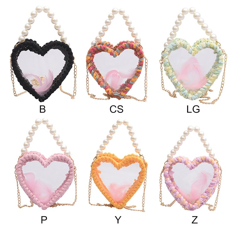 Women Personalized Heart Shape Shoulder Bag Beads Decor ound shape shoulder bag,beads decor crossbody bag transparent