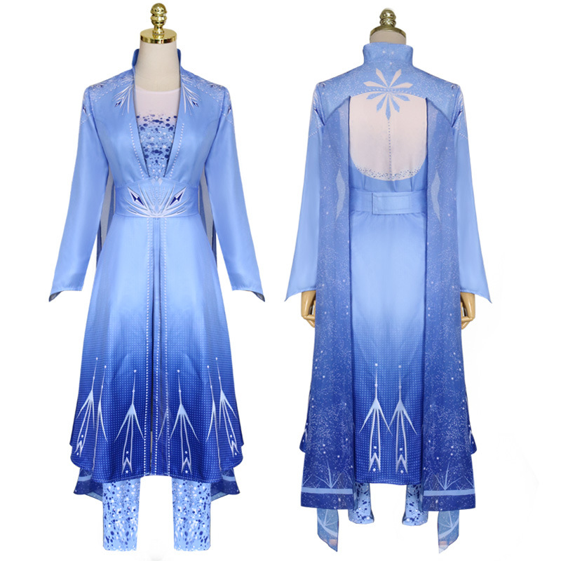 4pcs Snow Queen Princess Elsa Dress Sets Adult Women Cosplay Costume Halloween Birthday Party Sky Blue Role Play Outfit C250896