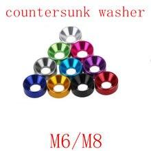 M6 M8 5-10 pçs/lote arruela de alumínio de Alumínio Anodizado colorido Cabeça Rebaixada Parafuso Anilhas Junta