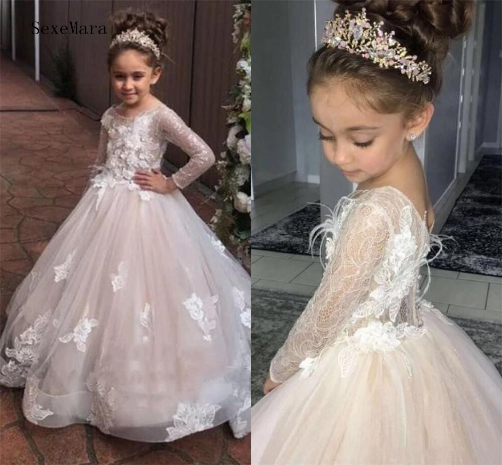 Lace Long Sleeves Flower Girls Dresses 2020 Sheer O Neck Little Kids Formal Wedding Party Gowns Girls Pageant Dress