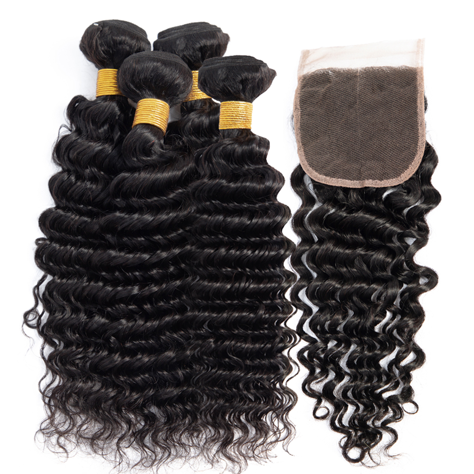Brazilian Deep Wave Bundles With Closure Non Remy Human Hair Weave 4 Bundles With Closure Peruvian Hair Closure With Bundles