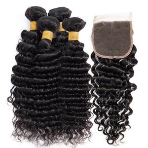 Brazilian deep wave bundles with closure non remy human hair weave 4 bundles with closure Peruvian hair closure with bundles