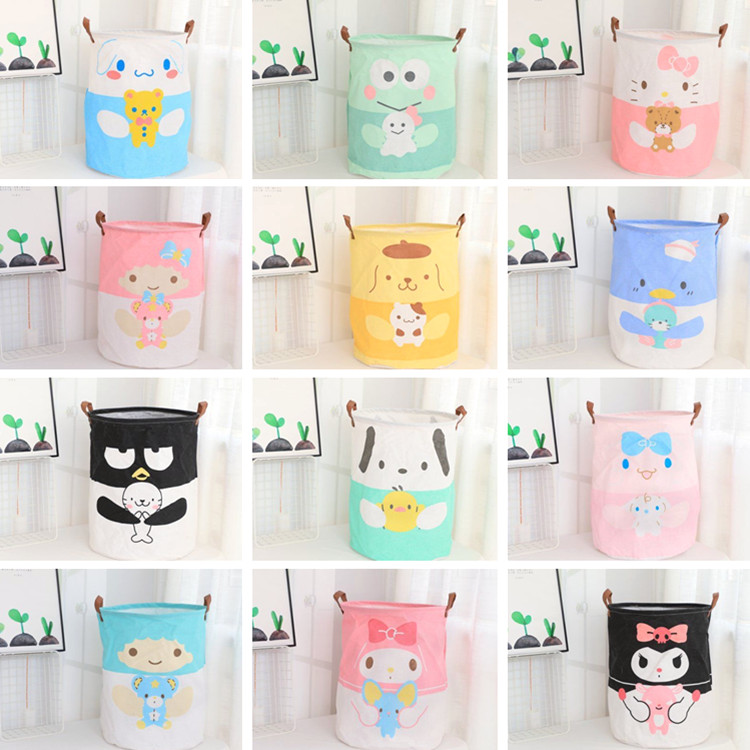 New Kuromi Twin Stars Folding Laundry Basket Round Storage Bin Bag Large Hamper Collapsible Clothes Toy Holder Bucket Organizer