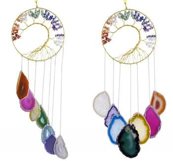 TUMBEELLUWA Chakra Crystal Tree of Life Ornament & Agate Geode Slices Wind Chime,Suncatcher Window Wall Decor Hanging Home Decor tumbeelluwa 7 chakra agate slices geode cup mat beverage coasters