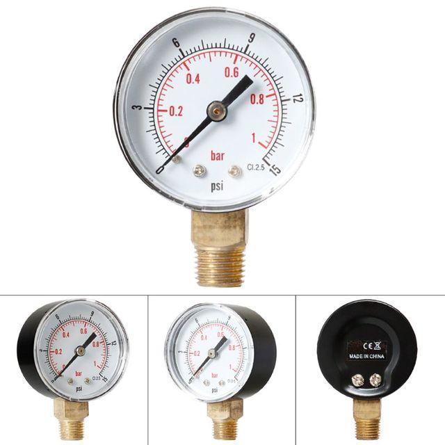 "Pressure Gauge 52mm 1/4"" BSPT Vertical 15,30,60,100,150,300 PSI & Bar Bottom Mount 35ED"