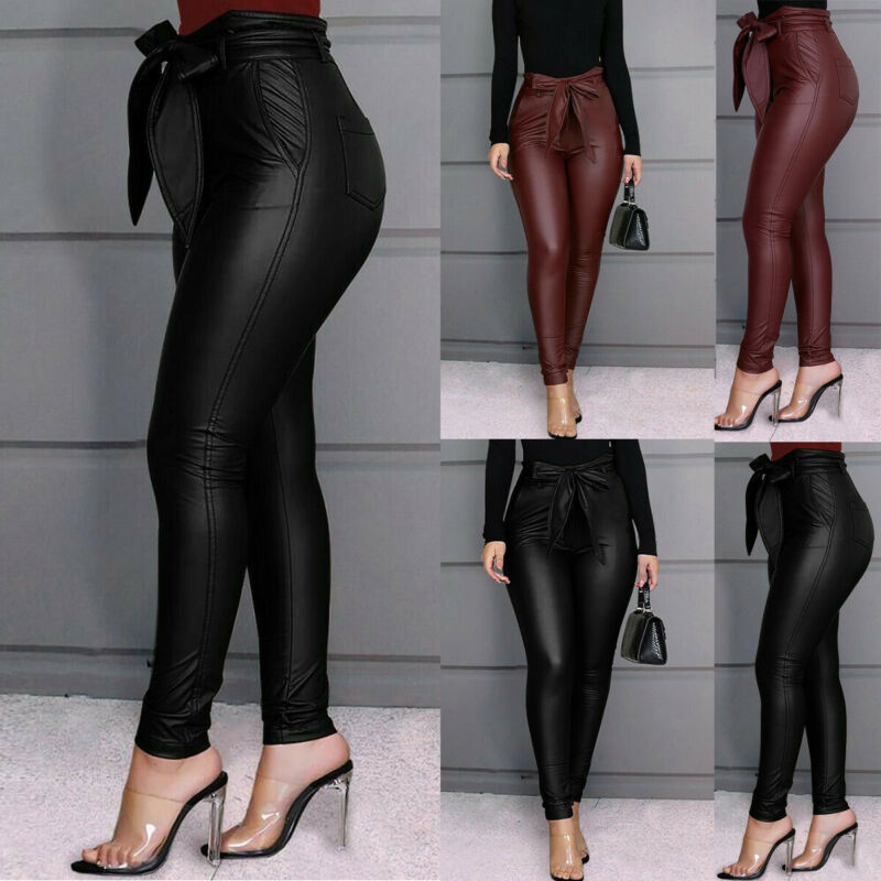 Sexy Women's Leggings PU Leather Pants Stretchy Skinny Pencil Trousers High Waisted Fashion New Female Dresses