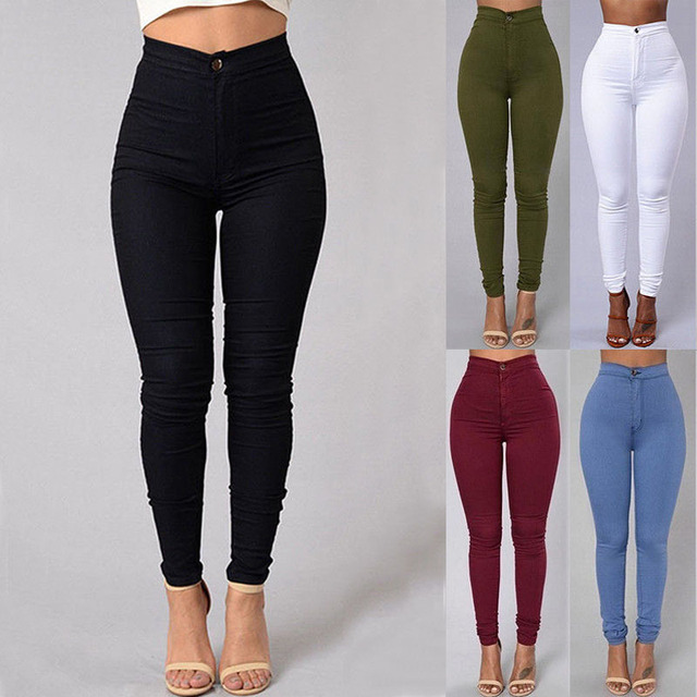 Pencil Jeans Women Stretch Casual Denim Skinny Pants  Ladies Fashionable High Waist Tight Trousers 5 Color Hot 1