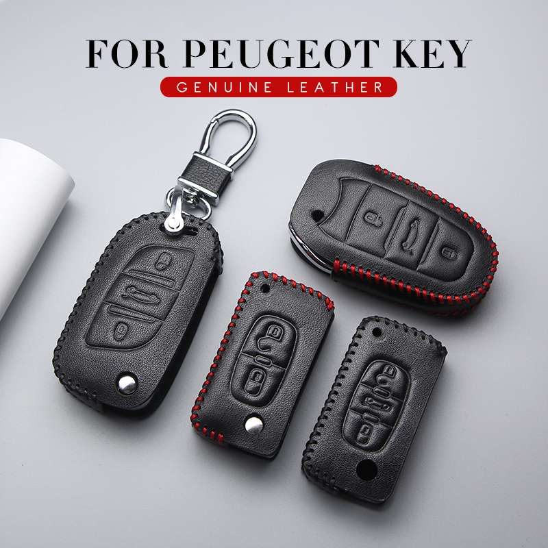 KUKAKEY Genuine Leather Car <font><b>Key</b></font> <font><b>Case</b></font> Cover Car Styling For <font><b>Peugeot</b></font> 307 206 207 407 308 301 <font><b>3008</b></font> 406 408 607 208 <font><b>Key</b></font> Bag Holder image