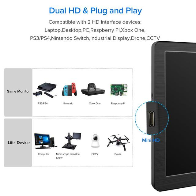 Eviciv Dual Screen Laptop 7 Inch PC Computer Second Monitor IPS 60Hz Portable Display for Switch Xbox PS4 Game Console HDMI USB 3