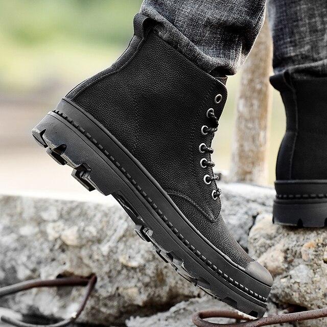 Black Warm Winter Men Boots Genuine Leather Ankle Boots Men Winter Work Shoes Men Military Fur Snow Boots for Men Botas JKPUDUN 5