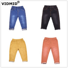 VIDMID 1-9Y Children autumn Jeans Boys Denim trousers Baby Girls Jeans Top Quality pants kids clothing spring trousers 1017 01 cheap Cotton CN(Origin) Regular Unisex vintage Washed Full Length Fits true to size take your normal size Elastic Waist Solid