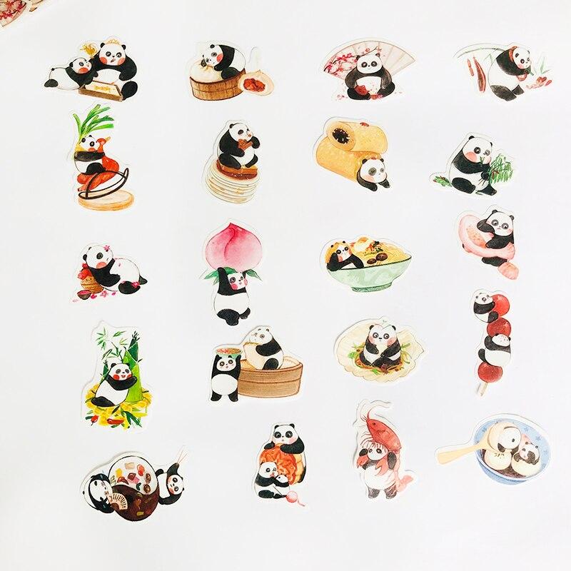 40 шт./упак. Kawaii Little Panda Eat Food Декоративные наклейки для блокнота, декор альбома