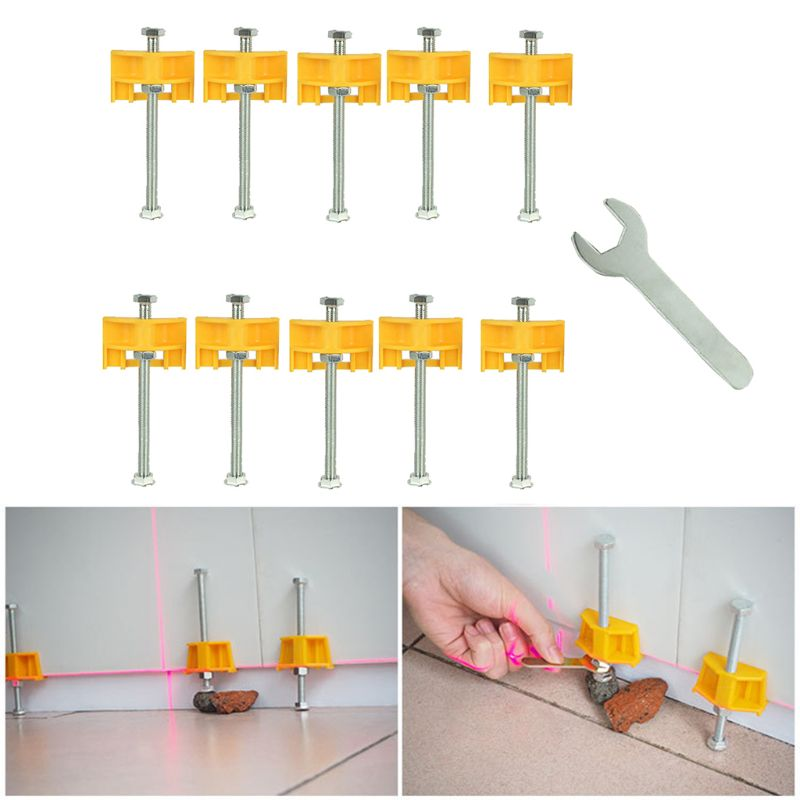 10pcs Manual Tile Locator Wall Tiles Regulator Height Adjustment Positioner Leveler Ceramic Fine Thread Rising Construction Tool