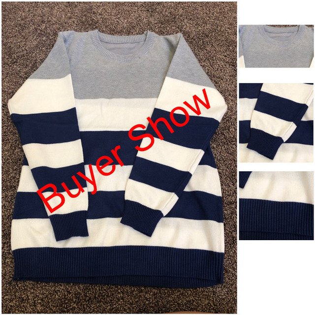 Korea Grey And Pullovers Long Knitted High Quality Winter Warm Navy Coat 3xl Newest 5