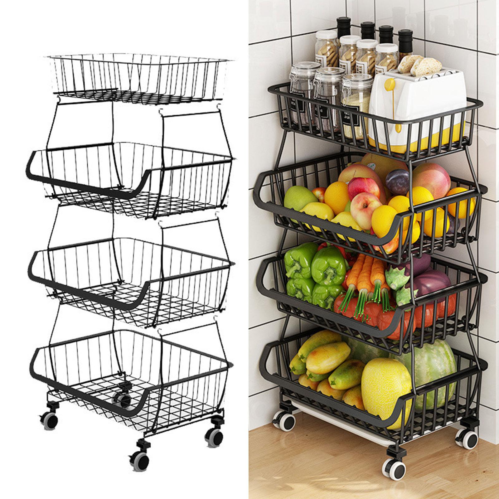 4-Tier Kitchen Fruit Vegetable Rack On Wheels Deep Storage Stand Cart Trolley Bathroom Washroom Shelving Rack Storage Basket