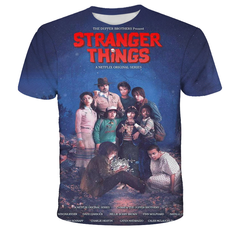 2021 New Stranger Things Printed Fashion Men's T shirt, Funny Casual Boy's O-neck Top Tees, Trendy Street Loose Big Size Clothes