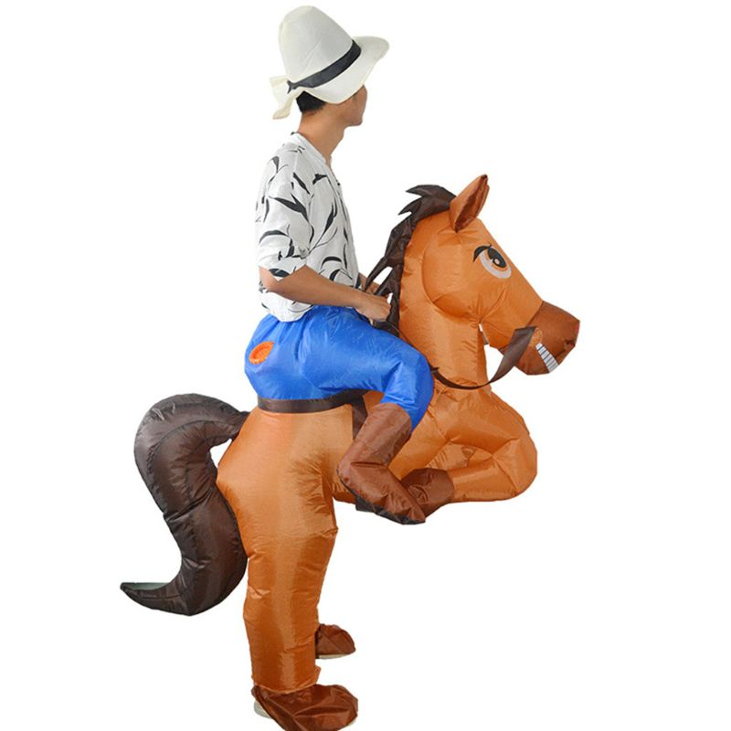 Inflatable Cowboy Costume Horse Riding Fancy Dress Adult Kid Party Cosplay Suit  NEW