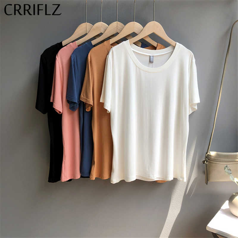 2020 New Simple Solid T Shirt Women One Size O Neck Short Sleeve Summer Tops CRRIFLZ