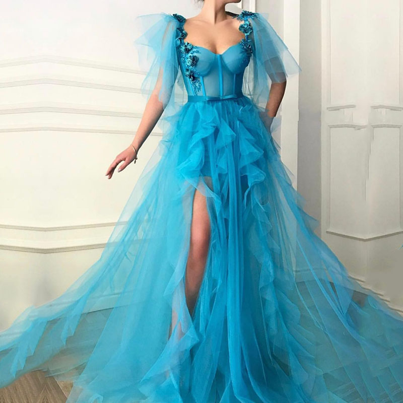 Eightale Blue Evening Dresses 2019 Flowers Ruffles Tulle Custom Made High Slit Dubai Saudi Arabic Long Evening Gowns Prom Dress