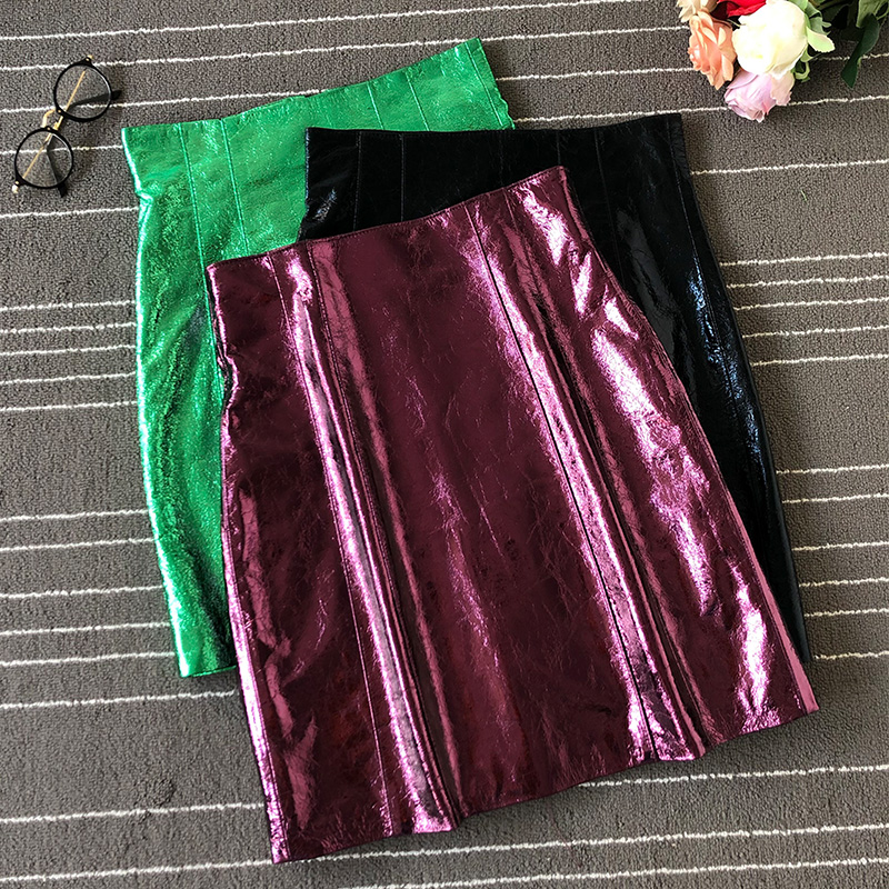 2020 Spring New Womens Sheepskin Short Skirt High Waist Hip Skirt Fashion Simple Skirt Slim Party Pencil Skirt