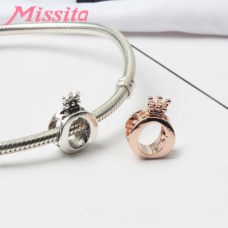 MISSITA 925 Sterling Silver Large Circle Crown Chic O Beads fit Brand Bracelet DIY Jewelry Women Bracelets Accessories Hot Sale