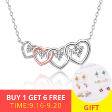 XiaoJing 925 Sterling Silver Clear CZ Connected Heart Four Heart Pendant Necklace for Girlfriend Jewelry Valentine Day Gift недорого