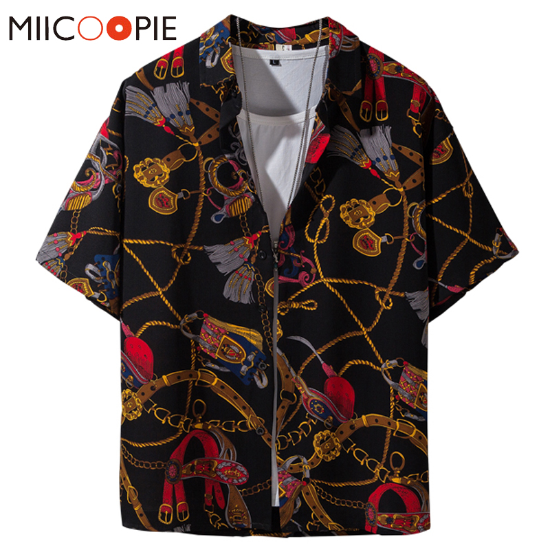 Luxury Golden Chain Print Baroque Brand Shirt Men Dress Harajuku Style Loose Hip Hop Short Sleeve Hawaiian Shirts Plus Size 5XL