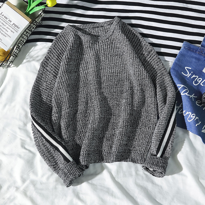 Winter Sweater Mens Fashion Stripe Matching Knitted Pullover Round Collar Casual Popular