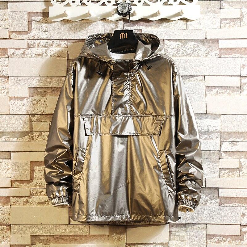 Весенняя мужская уличная куртка-бомбер, мужские куртки в стиле хип-хоп, модные пальто с капюшоном, мужские свободные куртки, одежда размера ...