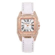 Montre femme New Square Women Watches Luxury Diamond Roman Quartz Watch Ladies Black White Retro Leather relogio feminino