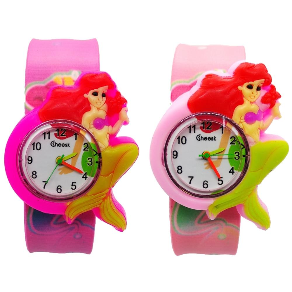 Children Watch Cartoon Mermaid Kids Quartz Watches Kid Baby Clock Beat Circle Mickey Watch Child Girls Boys Gift Relogio Montre