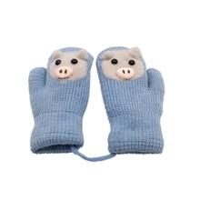 Kids Gloves Winter Cartoon Rabbit Children Thicken Warm Gloves Girls Cute Full Fingers Rabbit Hair Wool Mittens
