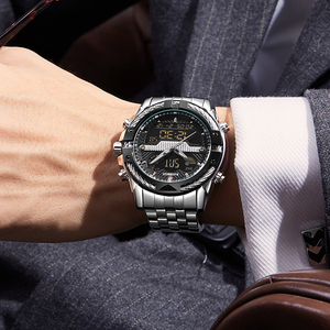 Image 5 - 9076 Luxury Brand Mens Watch Mens Sport Watch LED Quartz Watches Stainless Steel Army Military Wristwatch Relogio Masculino