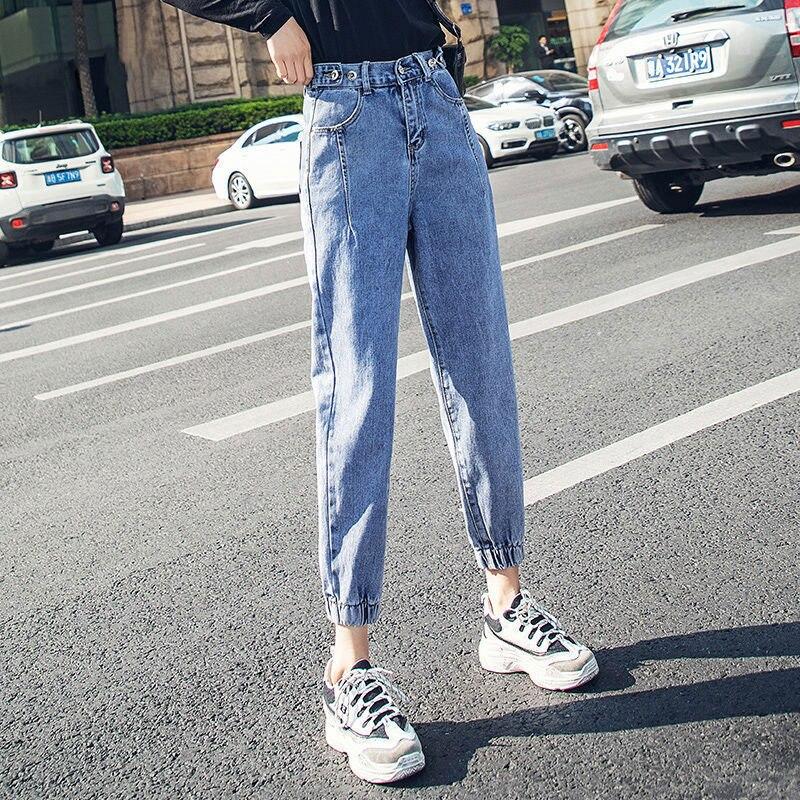 Oversize High Waist Jeans Elastic Loose Korean Jeans Women Boyfriend Pants Women Plus Size Oversized Denim Pants Femme 2020