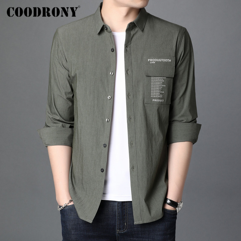 COODRONY Brand Spring Autumn Fashion Mens Shirts Long Sleeve Shirt Men Clothing Streetwear Casual Camisa Masculina Pocket C6009