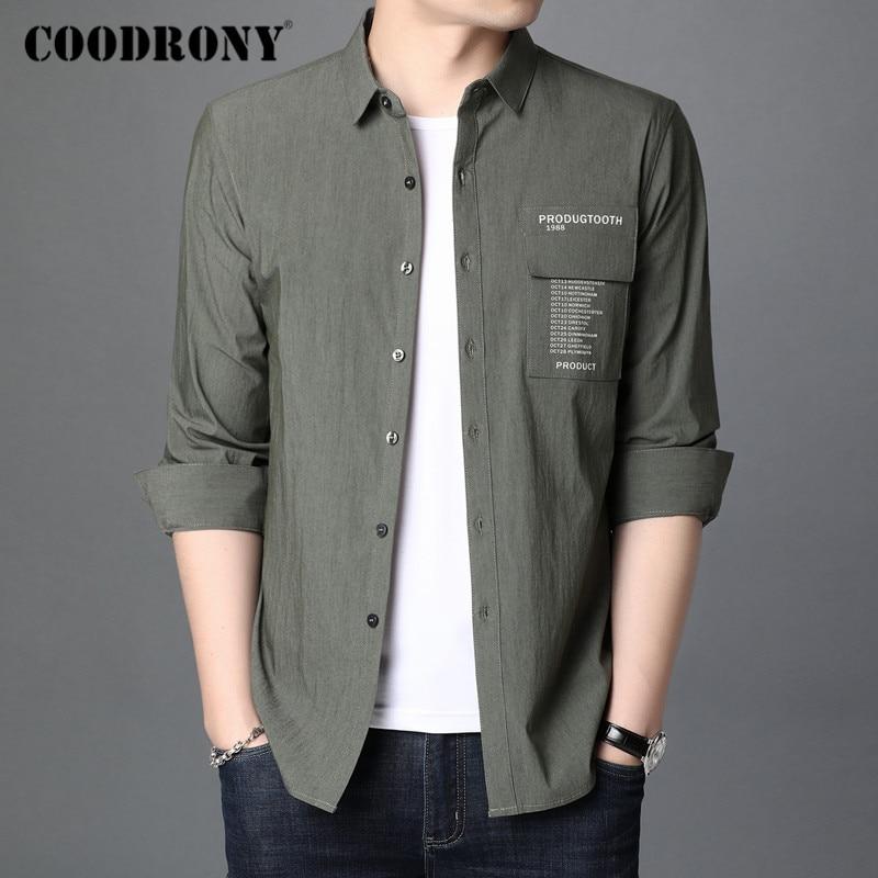 COODRONY Brand Spring Autumn Fashion Mens Shirts Long Sleeve Shirt Men Clothing Streetwear Casual Camisa Masculina Pocket C6009