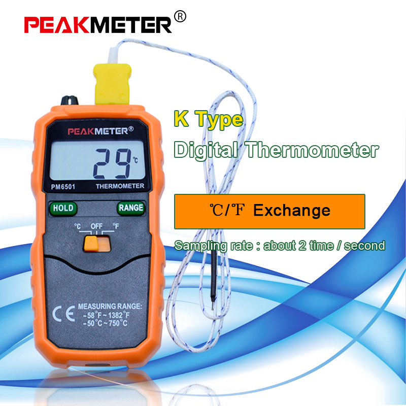 PEAKMETER PM6501 Digital Thermometer Temperature Meter Type Thermocouple W//