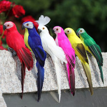 2PCS Home Garden Birds decoration Colorful Fake Parrots Artificial Birds Model Outdoor Home Garden Lawn Tree Decor