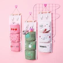 3/5 cute bedroom storage bag powder girl home wall hanging debris cotton linen